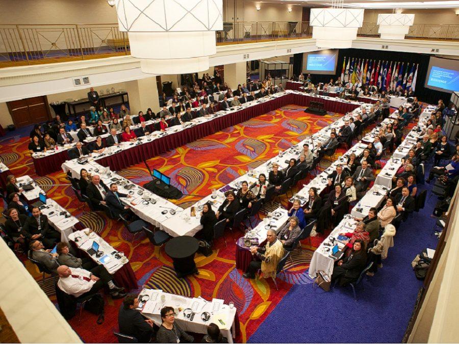 Photo d'une salle de conférence